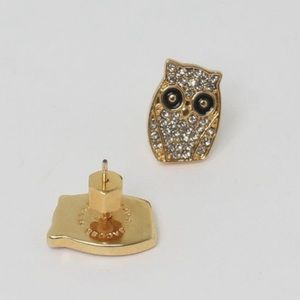 Marc Jacobs gold tone owl earrings new